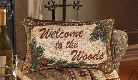 Deer Creek Welcome to the Woods Word Pillow