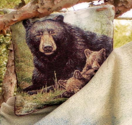 Nap Time Black Bear Tapestry woven Pillow