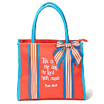 This is the Day Sentiment Tote Orange and Blue Canvas